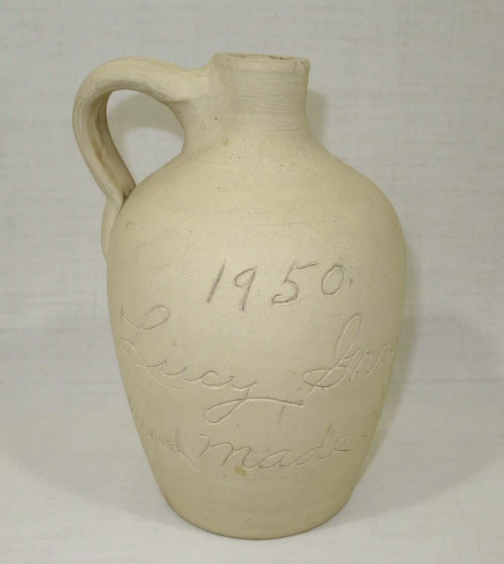 """Evans Pottery Scratch Jug, """"Lucy Gray 1950"""", Sgnd"""