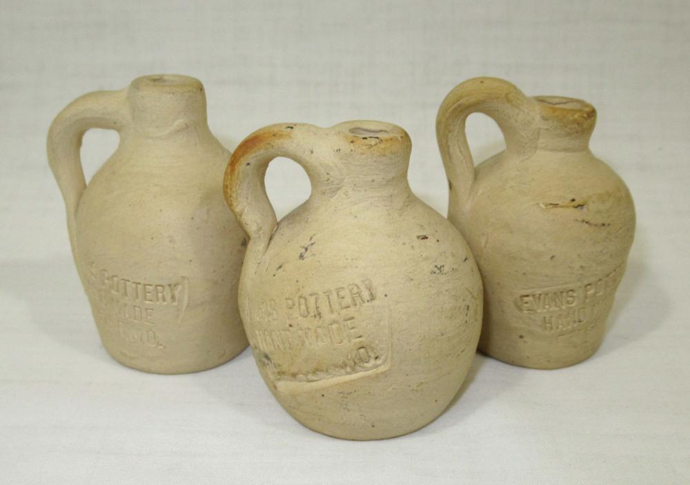 3 Evans Pottery Miniature Jugs, All Sgnd.