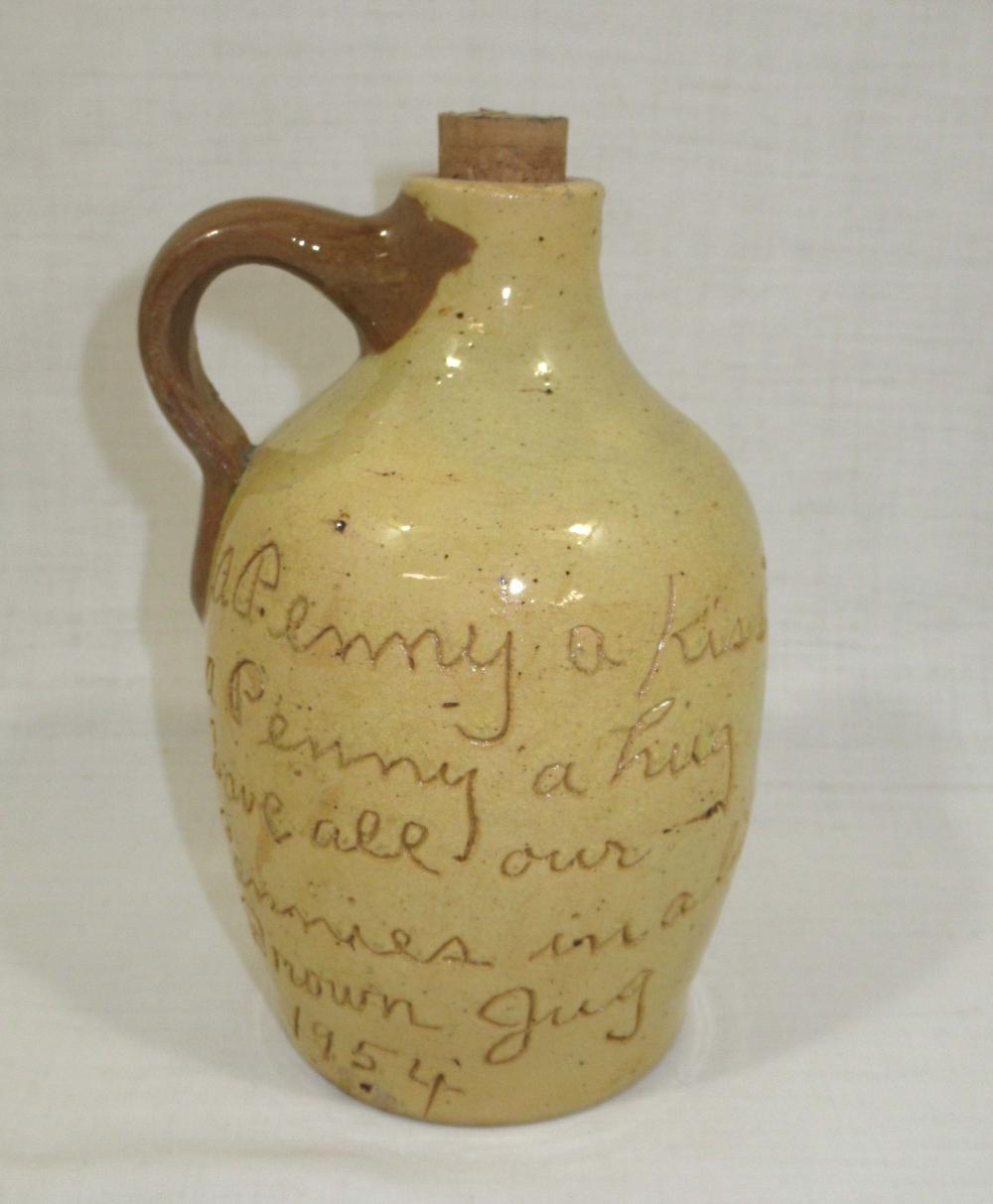 "Evans Pottery ""A Penny a Kiss"" Jug 1954"