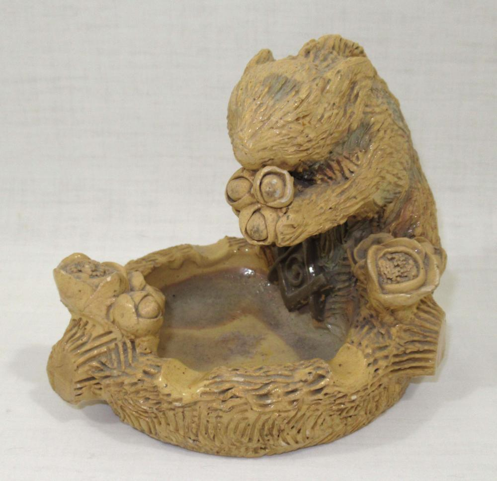 Evans Pottery Masonic Squirrel Ashtray Double Sgnd