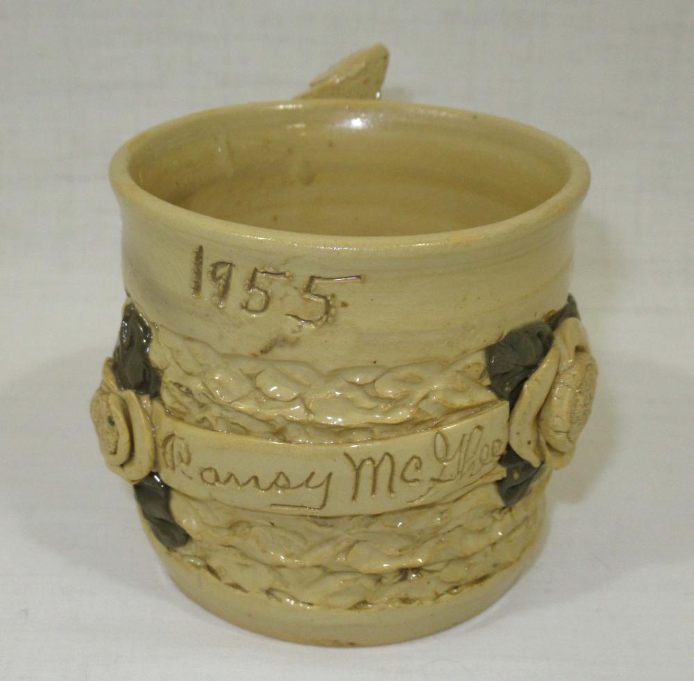 "Evans Pottery Mug Inscribed ""Pansy McGhee 1955"""