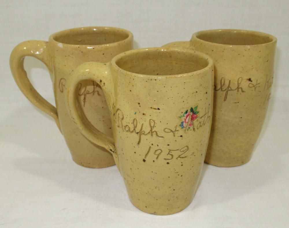 3 Evans Pottery Steins, Inscribed
