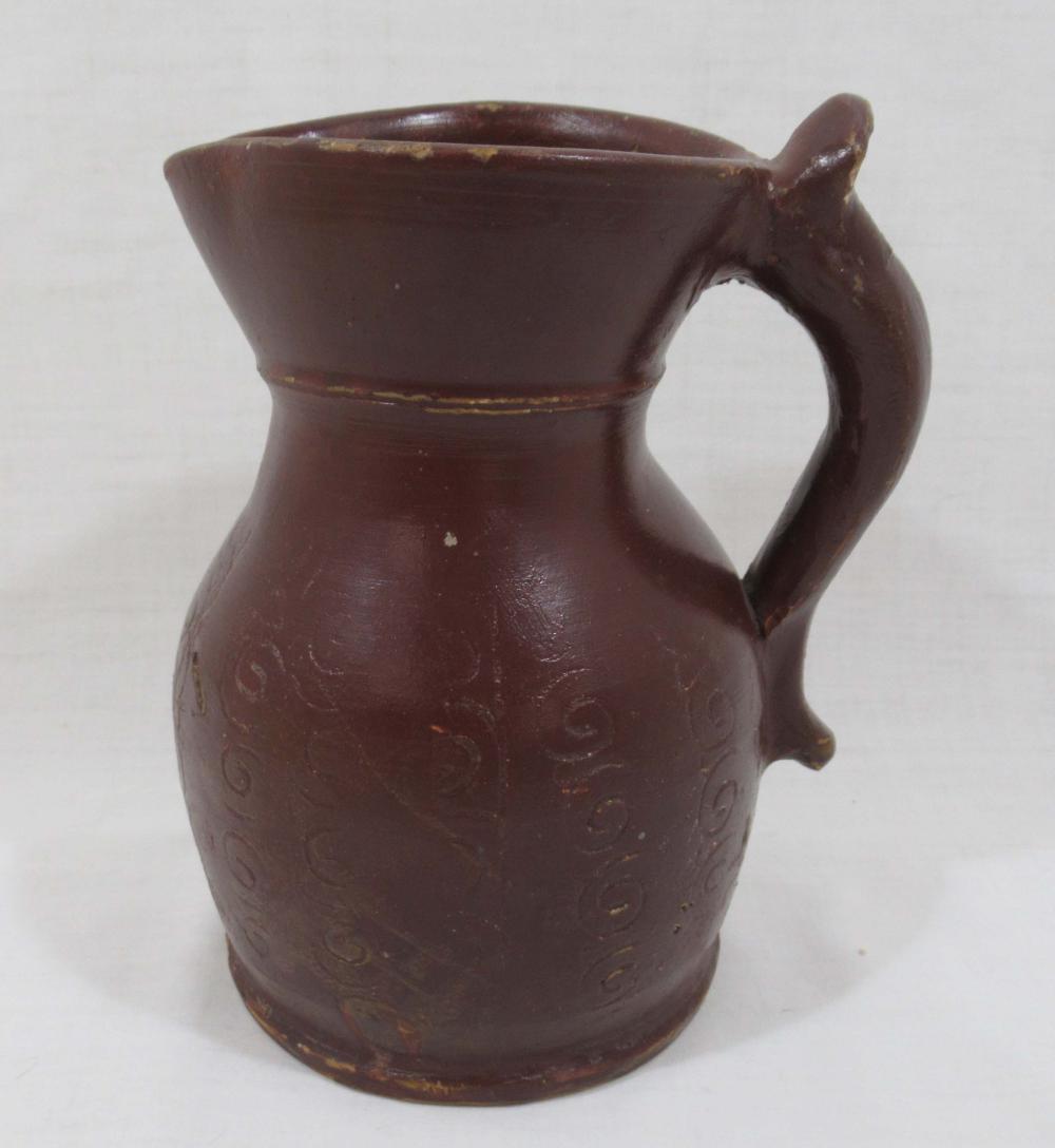 Evans Pottery Pitcher w/ Inscribed Décor, Sgnd