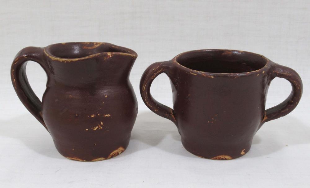 Evans Pottery Cream & Sugar, Sgnd