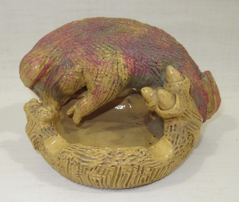 Evans Pottery Pig Ashtray, Sgnd