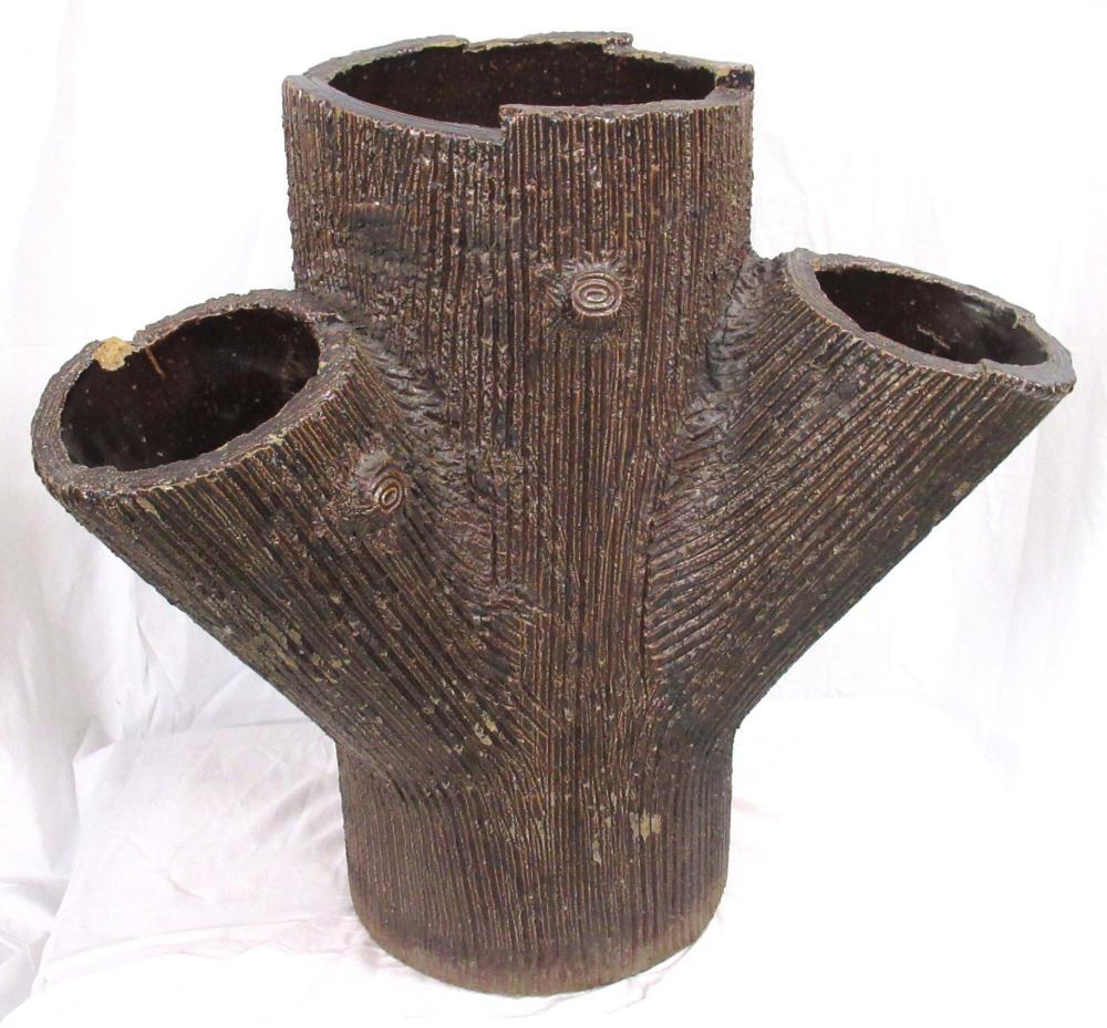 Evans Pottery Lg. Tree Trunk Planter