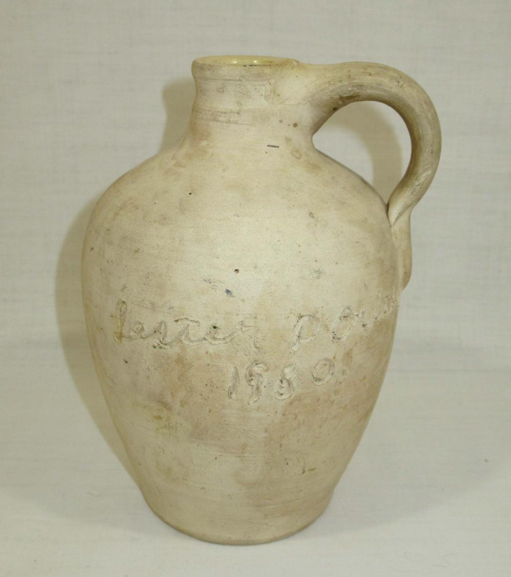 """Evans Pottery Scratch Jug """"Mollie Crites Lester P. Crites 1950"""""""
