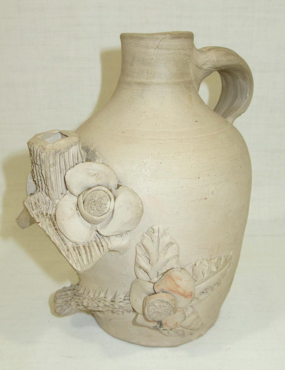 Evans Pottery Bird House Jug Sgnd