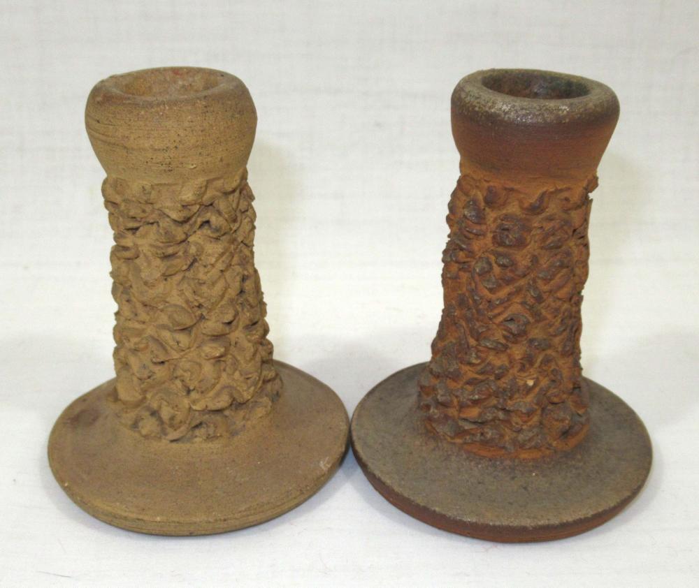 Pr Evans Pottery Candlesticks