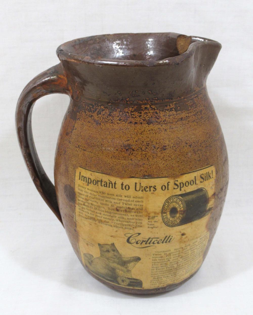 Evans Pottery Pitcher w/ Underglaze Corticelli Adv