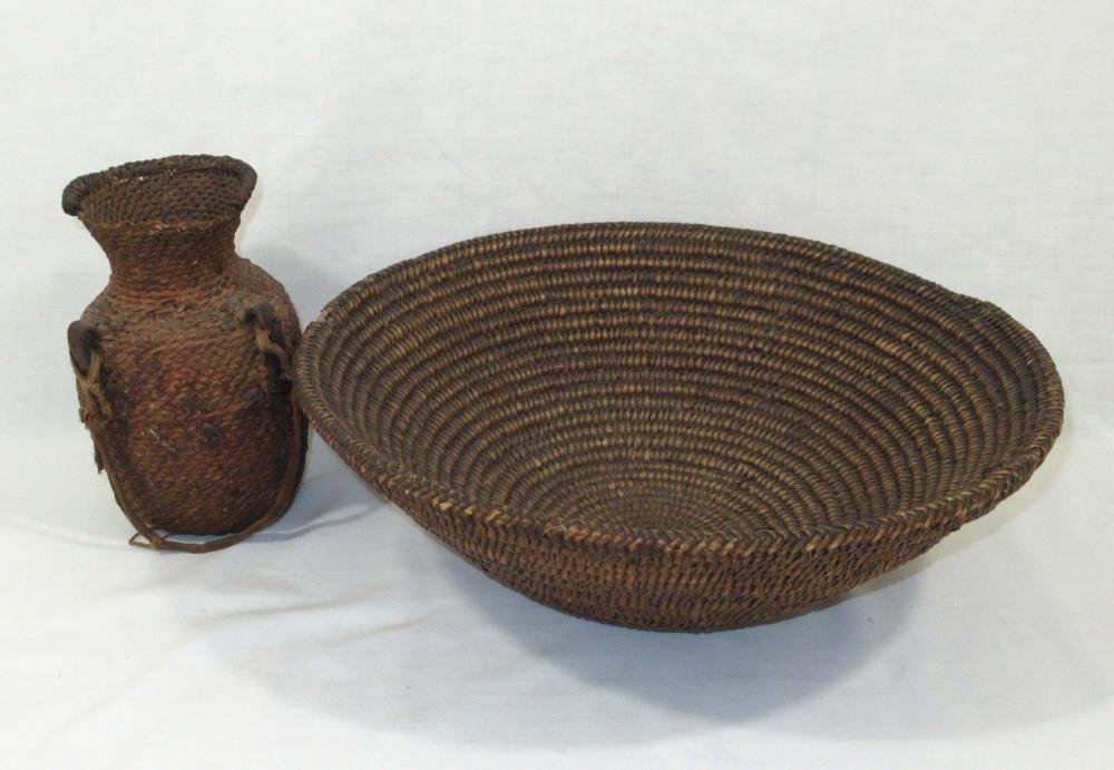 Indian Woven Basket & Jug