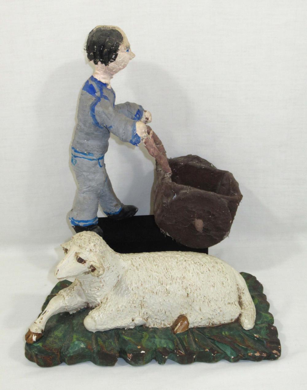 Folk Art Sheep & Man w/ Cart