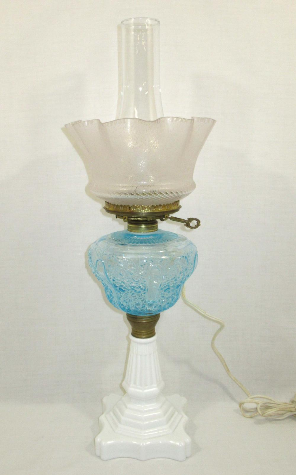 EAPG Kerosene Banquet Lamp w/ Ice Blue Font & Etched Shade
