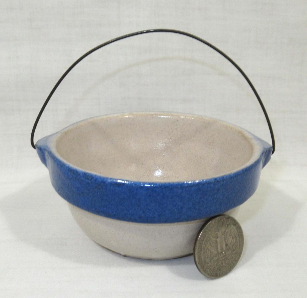 Blue & White Stoneware Miniature Bowl w/ Orig. Handle