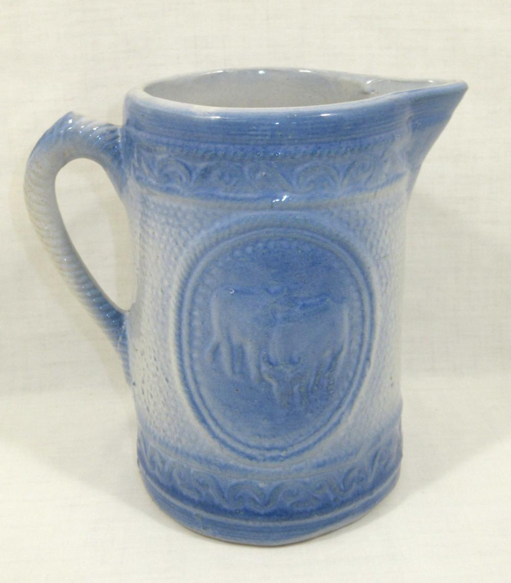 Blue & White Stoneware Cow Milk Pitcher