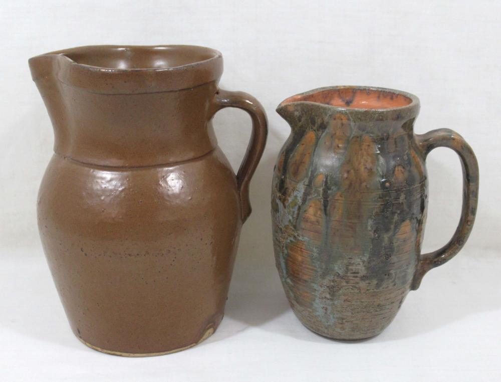 Redware & Stoneware Pitcher, 2pc