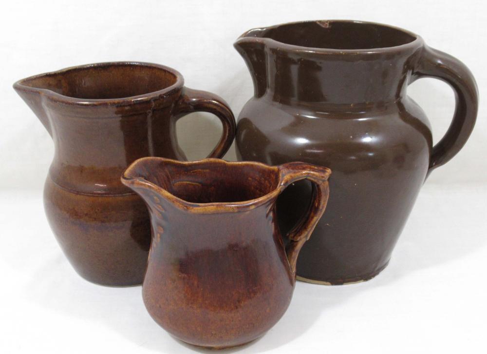 3 Stoneware Pitchers