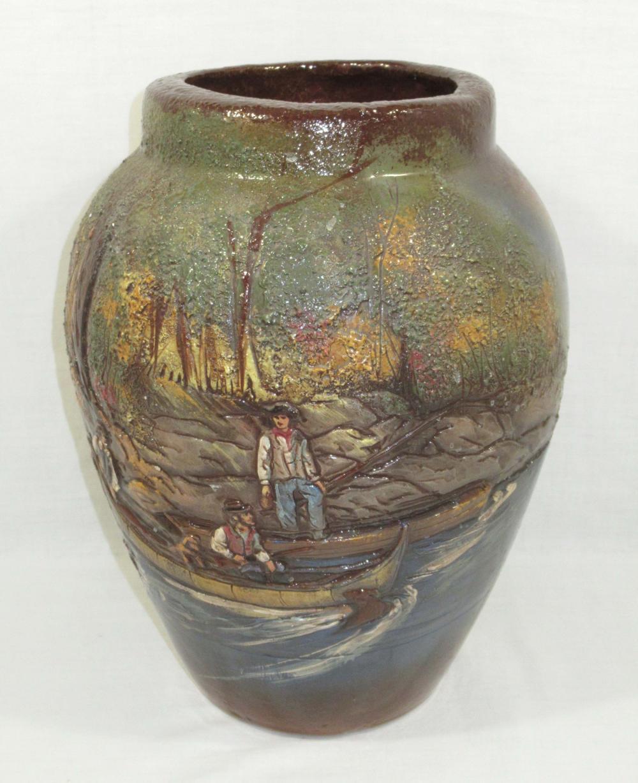 Lg. Rick Wisecarver Carved Pottery Vase