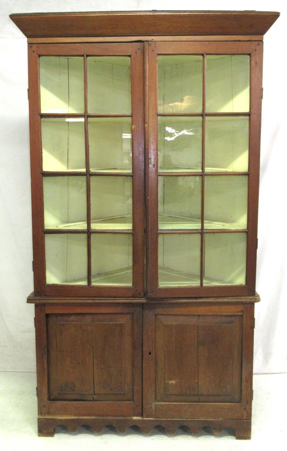 Early Walnut Corner Cupboard