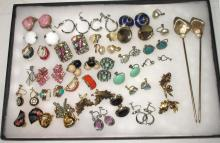 Large Lot of Costume Earrings & Hatpins