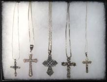 5 Sterling Cross Necklaces