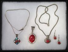Sterling & Redstone Jewelry Lot