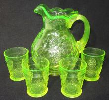 5pc Vaseline Glass Water Set