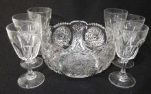 Pressed Glass Bowl & 6 Goblets
