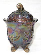 Carnival Glass Covered Candy Dish