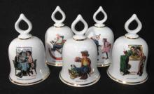 5 Norman Rockwell Porcelain Bells