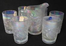 7pc Imperial White Carnival Glass Water Set