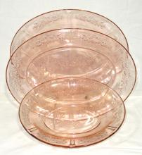 3 pcs Pink Depression Glass