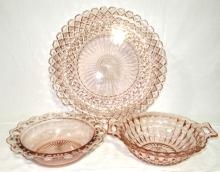 3pc Pink Depression Glass