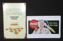 2 Modern Tin Coca Cola & Coffee Signs