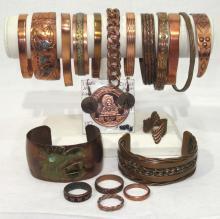 Lot of Copper Bracelets, Rings & Earrings