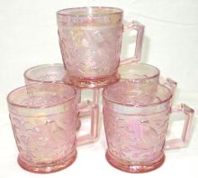 5 Imperial Iridescent Pink Bird Mugs
