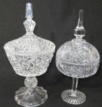 2 Crystal Candy Dishes