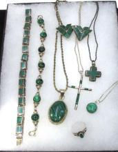 Sterling & Malachite 8pc Jewelry Lot