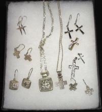Lot of Sterling Cross Necklaces, Earrings & Pendants