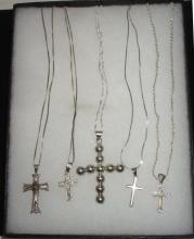 Lot of 5 Sterling Cross Necklaces