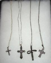 Lot of 5 Sterling & Marcasite Cross Necklaces