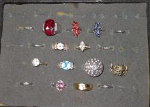 Lot of 17 Sterling Costume Rings