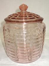Pink Depression Cookie Jar
