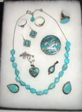 Sterling & Turquoise Lot Many Artist Sgnd