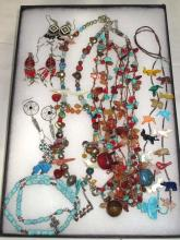 Lot of Multi Stone Fetish Necklaces & Navajo Style Earrings
