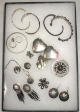 15pc Taxco Sterling Bracelets, Pins, & Earrings