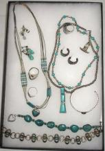 13pcs Sterling & Turquoise Jewelry