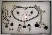 14pc Sterling & Onyx Jewelry