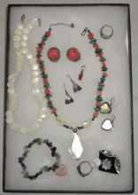 Sterling Chrysoprase, Jadeite, Coral & MOP Jewelry