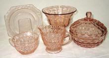 5pc Pink Depression Glass
